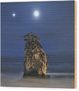 Couple Of Jovian And Lunar Lights Wood Print