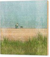 Couple On Beach With Dog Wood Print