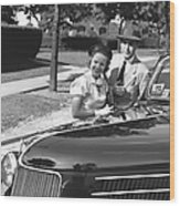 Couple Posing At Open Top Car, (b&w), Portrait Wood Print by George Marks