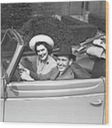 Couple Riding In Old Fashion Convertible Car, (b&w),, Portrait Wood Print