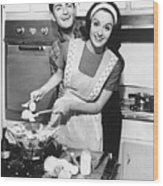 Couple Standing In Kitchen, Smiling, (b&w) Wood Print