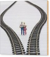 Couple Two Figurines Between Two Tracks Leading Into Different Directions Symbolic Image For Making Decisions Wood Print