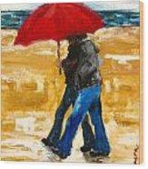 Couple Under A Red Umbrella Wood Print
