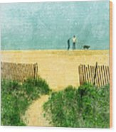 Couple Walking Dog On Beach Wood Print by Jill Battaglia