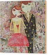 Courting Couple Wood Print
