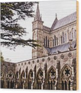 Courtyard Salisbury Cathedral - England Wood Print
