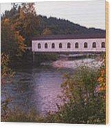 Covered Bridge At Dawn No. 2 Wood Print