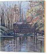 Covered Bridge At Lake Roaming Rock Wood Print