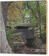 Covered Bridge By The Cottage  Wood Print