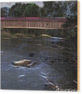 Covered Bridge In The Rain Wood Print