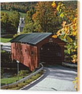 Covered Bridge In Vermont Wood Print