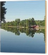 Covered Bridge Reflections At L'ange Gardien Quebec Wood Print