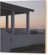 Covered Porch And Fence At Sunset Wood Print by Roberto Westbrook