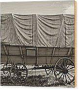 Covered Wagon Sepia Wood Print