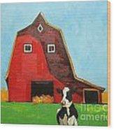 Cow And Barn 4 Wood Print