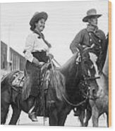 Cowboy And Cowgirl, C1908 Wood Print