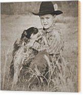 Cowboy And Dog Wood Print
