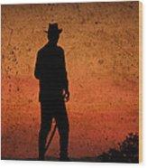 Cowboy At Sunset Wood Print