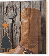 Cowboy Boots And Christmas Ornaments Wood Print