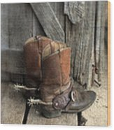 Cowboy Boots With Spurs Wood Print