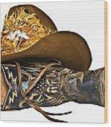 Cowboy Hat And Boot Wood Print