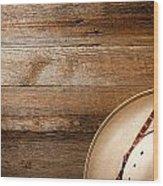 Cowboy Hat On Wood Wood Print