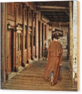 Cowboy In Old West Town Wood Print