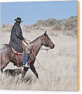 Cowboy On Horseback Wood Print by Cindy Singleton