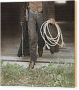 Cowboy With Guns And Rope Wood Print