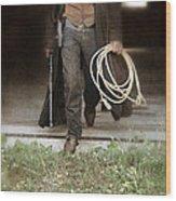 Cowboy With Guns And Rope Wood Print