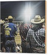 Cowboys At Rodeo Wood Print