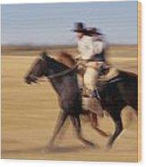 Cowboys Racing Horses Wood Print