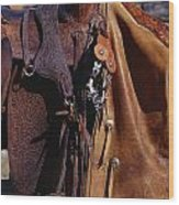 Cowboys Saddle And Chaps Detail Wood Print