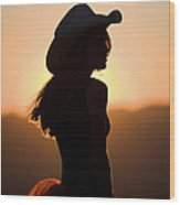 Cowgirl Silhouette Wood Print