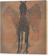 Cowponies In The Dust Wood Print by Elizabeth Lane