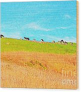 Cows On A Hill . 40d3430 . Painterly Wood Print
