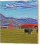 Cows Pasture Barns Superspecialeffect Wood Print