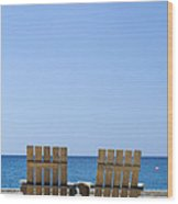 Cozumel Mexico Beach Chairs And Blue Skies Wood Print