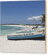 Cozumel Mexico Fishing Boats On White Sand Beach Wood Print