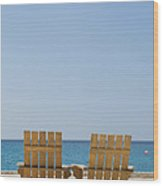 Cozumel Mexico Poster Design Beach Chairs And Blue Skies Wood Print