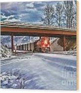 Cp Rail Coal Train Under Bridge Hdr Wood Print