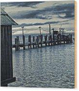 Crab Boat At Pier Wood Print