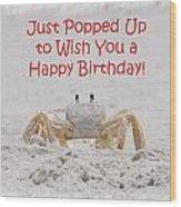 Crab Happy Birthday Wood Print
