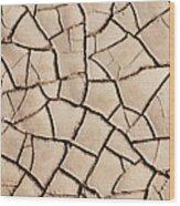 Cracked Earth On Desert Floor Bed Wood Print