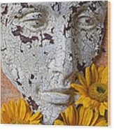 Cracked Face And Sunflowers Wood Print