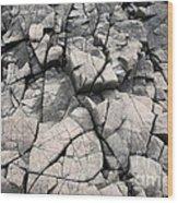 Cracked Rocks On Shore Wood Print