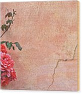 Cracked Wall And Rose Wood Print