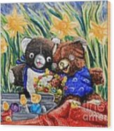 Cracky Bear And Little Boy Bear  So Happy Together Wood Print