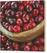 Cranberries In A Bowl Wood Print