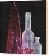 Cranberry And White Bottles Wood Print